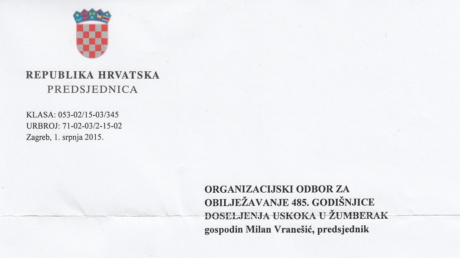 Predsjednica RH uputila pismo Organizacijskom odboru nadolazeće uskočke proslave