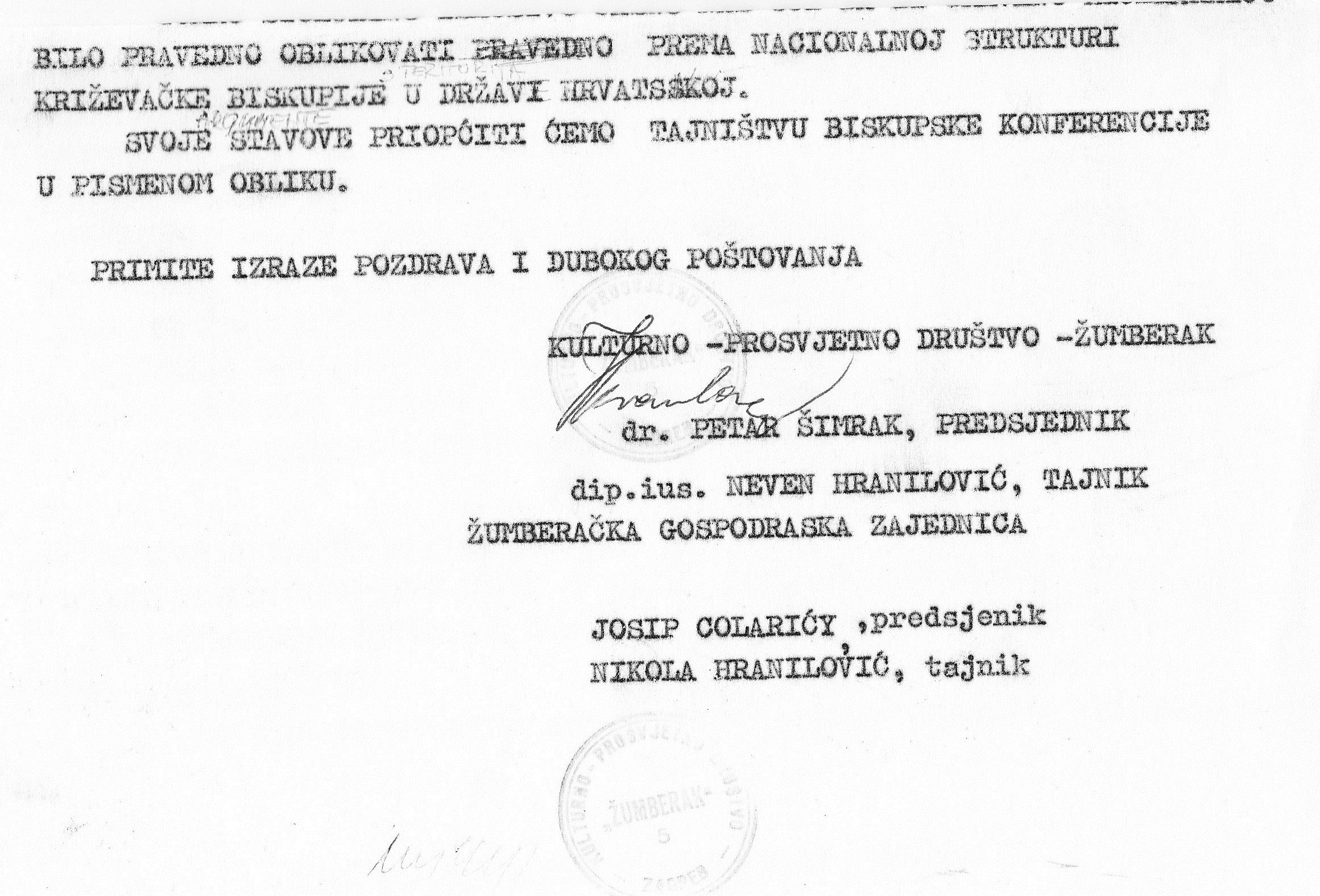 Hrvati grkokatolici i rimokatolici još su 1990. iznijeli zajednički stav o dismembraciji hrvatske Križevačke eparhije