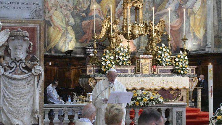 Papa predvodio misu u rimskom svetištu Božjeg milosrđa